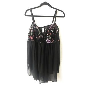 Black Floral Lace & Mesh Babydoll Chemise 3
